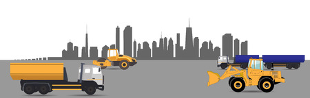 multiple lane highway: Transport Services in the City. Car. Vector Illustration.