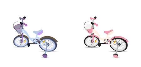 out of body: Set of Children Bicycle. Isolated