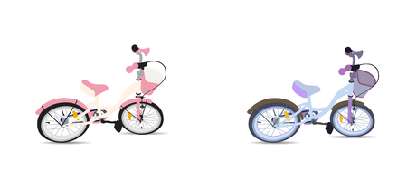 Set of Children Bicycle. Isolated Vector