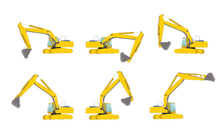 dredging tools: Set of Excavator work. Isolated