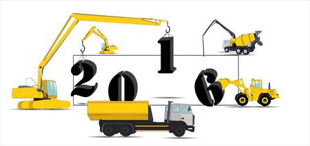 hydraulic platform: Equipo Construye Calendario para 2016 Vectores