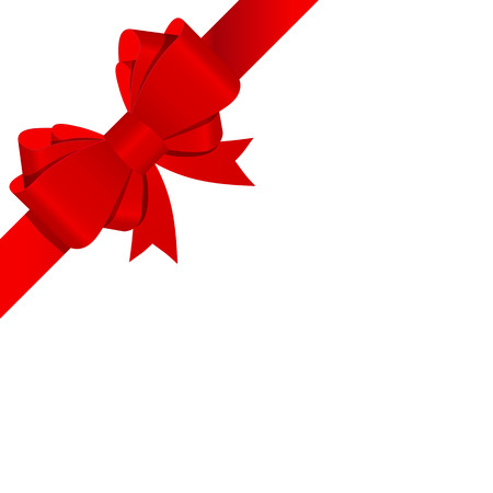 red ribbon bow: Gift Bow with Ribbon Vector Illustration