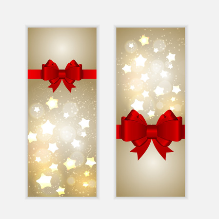 Abstract Glossy Star Background with Bow and Ribbon Vector Illus