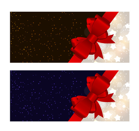 illus: Abstract Glossy Star Background with Bow and Ribbon Vector Illus