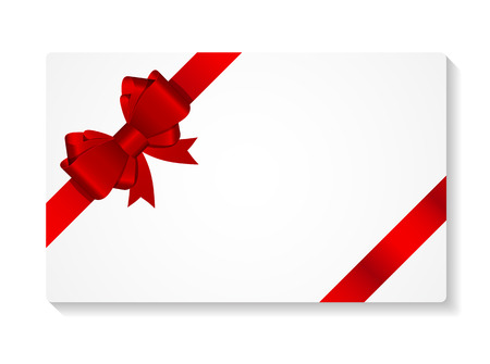red ribbon bow: Gift Card with Bow and Ribbon Vector Illustration