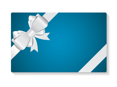 valentines card: Gift Card with Bow and Ribbon Vector Illustration