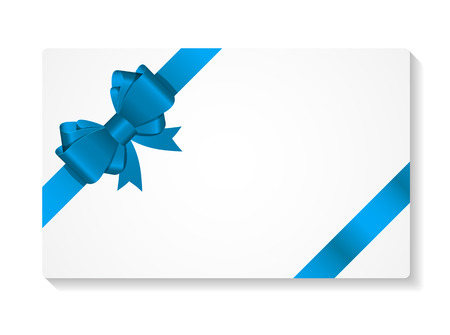gift: Gift Card with Bow and Ribbon Vector Illustration