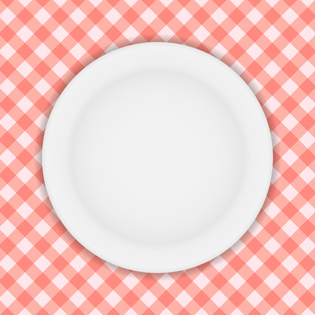 white plate: White Plate on a Checkered Tablecloth Vector Illustration EPS10
