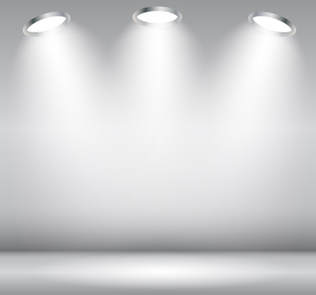 grey backgrounds: Background with Lighting Lamp. Empty Space for Your Text or Object.  Illustration