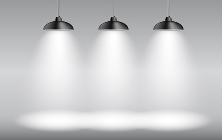 Background with Lighting Lamp. Empty Space for Your Text or Object.  Vectores