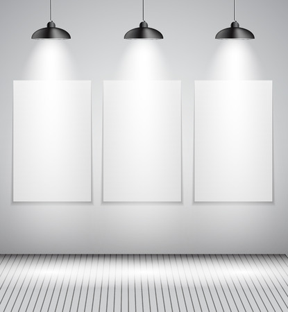 stage projector: Background with Lighting Lamp and Frame. Empty Space for Your Text or Object.  Illustration