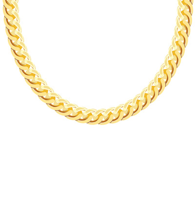 Gold Chain Jewelry. Vector Illustration.  Vettoriali