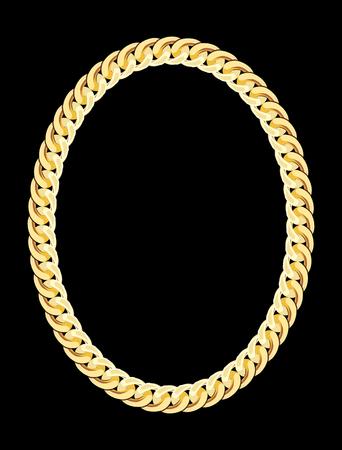 Joyería de la cadena de oro. Ilustración del vector.