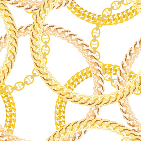 jeweller: Gold Chain Jewelry Seamless Pattern Background. Vector Illustration.  Illustration