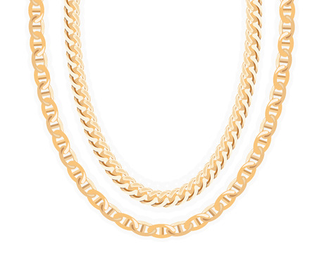 Gold Chain Jewelry. Vector Illustration.  Ilustracja