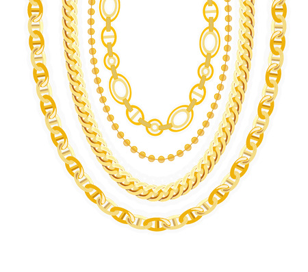 chain links: Gold Chain Jewelry. Vector Illustration.  Illustration