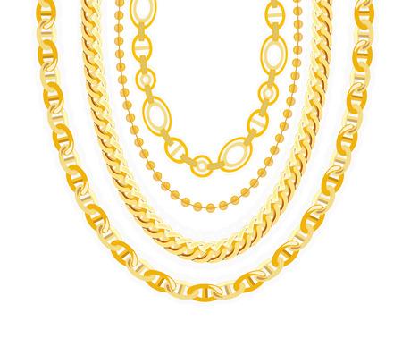 oro: Joyería de la cadena de oro. Ilustración del vector.