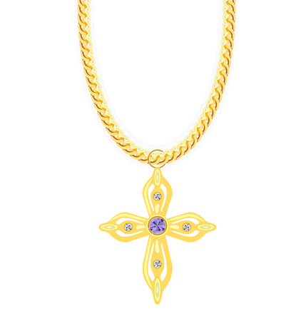 gold chain: Gold Chain with Cross with Diamond. Vector Illustration.  Illustration