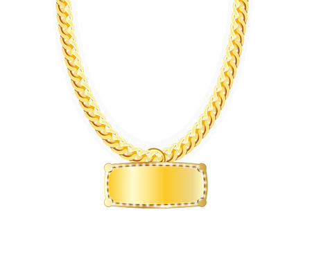 jeweller: Gold Chain Jewelry Whith Gold Pendants. Vector Illustration.  Illustration