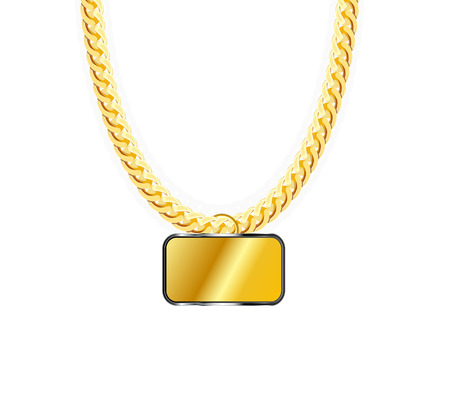 jeweller: Gold Chain Jewelry Whith Gold Pendant. Vector Illustration.