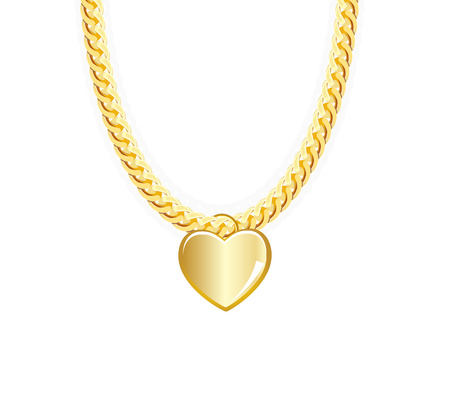 jeweller: Gold Chain Jewelry Whith Heart. Vector Illustration.