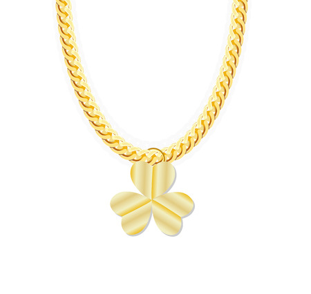 jeweller: Gold Chain Jewelry whith Three Leaf Clover. Vector Illustration.  Illustration