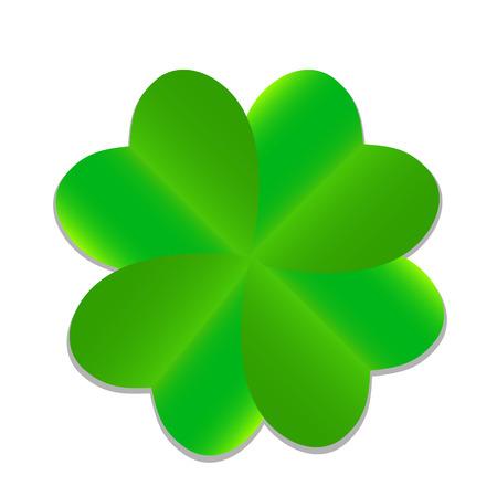threeleaf: Four-leaf Green Clover. Vector Illustration.