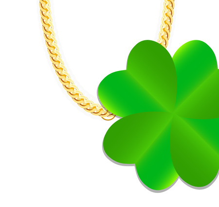 gold chain: Gold Chain Jewelry whith Green Four-leaf Clover. Vector Illustration.