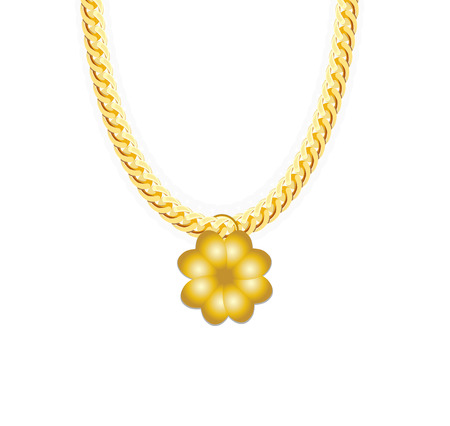 gold chain: Gold Chain Jewelry whith Four-leaf Clover. Vector Illustration.