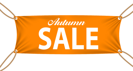 four corners: Textile banners with Autumn Sale Text Suspended by Ropes by all Four Corners. Vector Illustration  Illustration