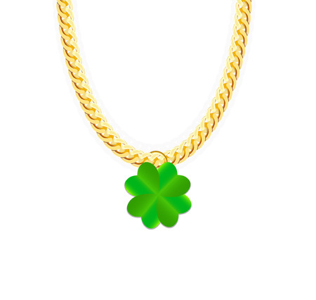 jeweller: Gold Chain Jewelry whith Green Four-leaf Clover. Vector Illustration.