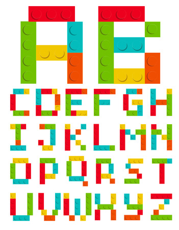 Alphabet Set Made of Toy Construction Brick Blocks Isolated White Vector Illustration