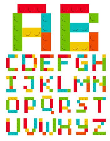 Alphabet Set Made of Toy Construction Brick Blocks Isolated White Vector Illustration