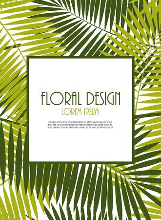 Palm Leaf Vector Frame Background Illustration  Vettoriali