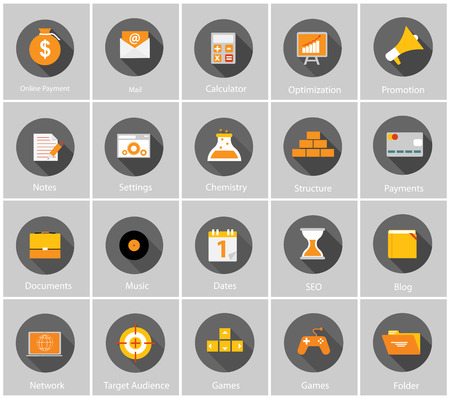 payment icon: Big Vector Collection of Flat Business and Finance Icons with Long Shadows. Modern  Design Elements for Web and Mobile Applications. EPS10 Illustration
