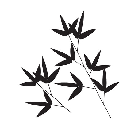 asian gardening: Stems and Bamboo Leaves Background. Vector Illustration. EPS10