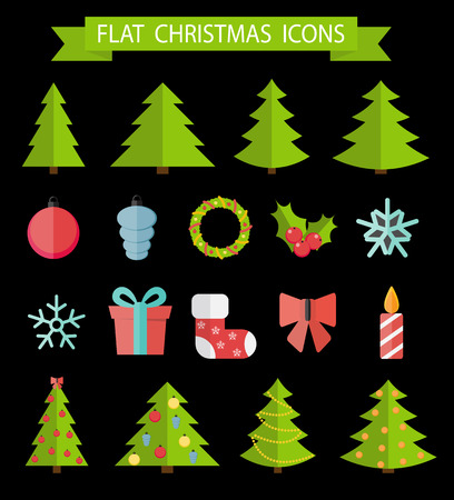 winter tree: Christmas Flat Icon Set Vector Illustration EPS10