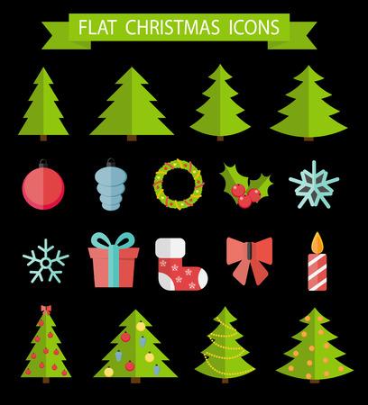 Christmas Flat Icon Set Vector Illustration EPS10