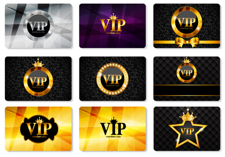 VIP Members Card Set Vector Illustration EPS10 Vectores