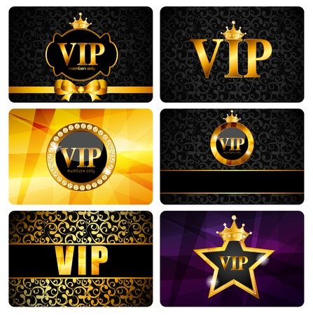 card symbols: VIP Members Card Set Vector Illustration EPS10 Illustration
