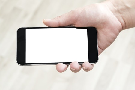 mobile phone screen: Hand Holding Mobile Phone with Blank Screen Stock Photo
