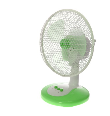 electric green: Working Table Electric Green Fan. Isolated on White Background.