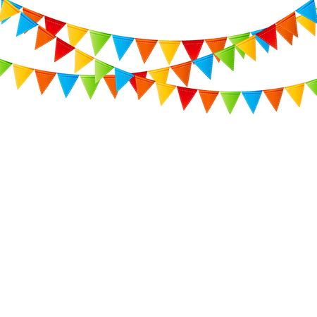 text space: Party Background with Flags Vector Illustration.