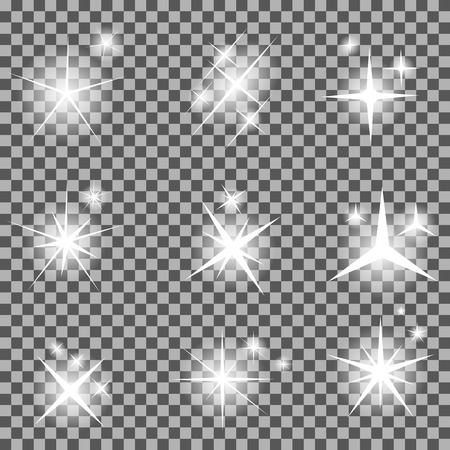 christmas holiday: Set of Glowing Light Stars with Sparkles Vector Illustration