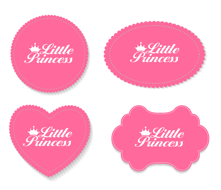 little: Little Princess Label Set Vector Illustration Illustration