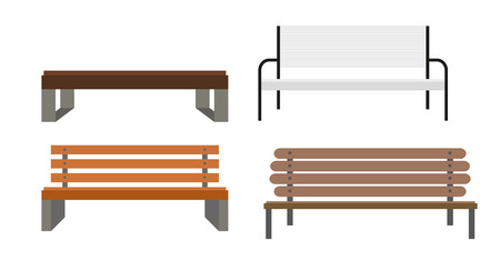 屋外のベンチのアイコン設定ベクトル Illusrtarion Eps10  イラスト・ベクター素材