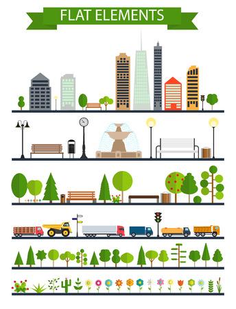 forest road: Flat City, Park, Forest, Road Elements. EPS10 Illustration
