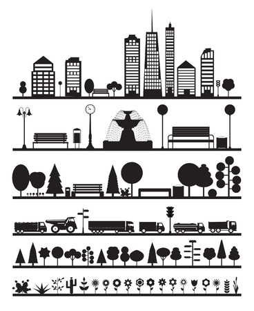 forest road: Silhouette City, Park, Forest, Road  Elements. EPS10 Illustration