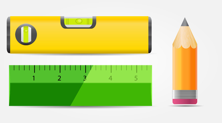 ruler: Pencil, Level and Ruler Icon Vector Illustration EPS10