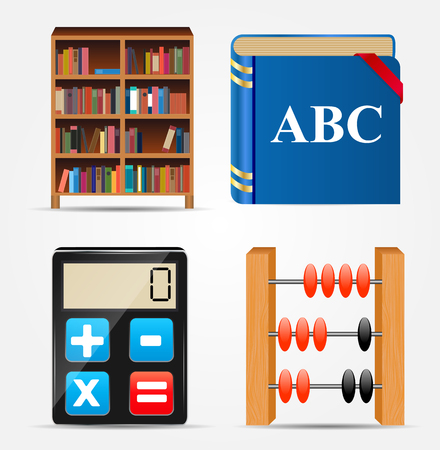 library shelf: Bookcase, Notepad, Calculator, Abacus Icon Vector Illustration EPS10
